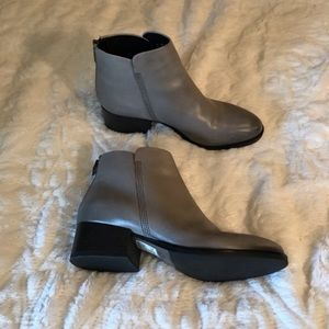Clarks Grey Heeled Booties Exposed Zipper Comfort